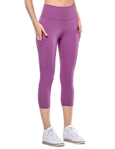 CRZ YOGA Mujer Cintura Alta Leggings Deportivas Fitness Running Pantalones Capri con Bolsillos -48cm Ciruela Vintage 36