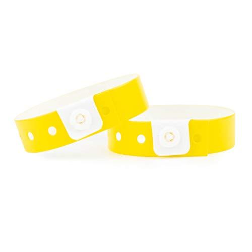 Set de 100 pulseras de plástico/vinilo para eventos, personalizables e impermeables (amarillo)