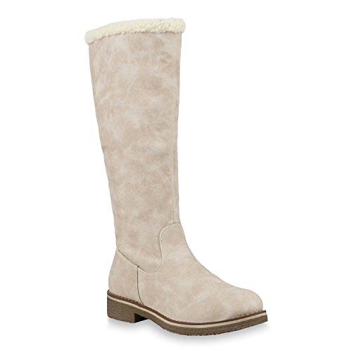 Klassische Damen Stiefel Warm Gefütterte Boots Winter Schuhe 153710 Creme Weiss 36 Flandell