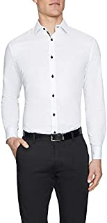 Tarocash Men's Gunner Slim Textured Shirt Slim Fit Long Sleeve Sizes XS-5XL for Going Out Smart Occasionwear