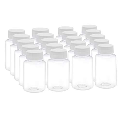 uxcell 3.4 oz/100ml PET Plastic Lab Chemical Reagent Bottle Wide Mouth Liquid/Solid Storage Container Clear Bottles w Tamper Evident Caps 20pcs