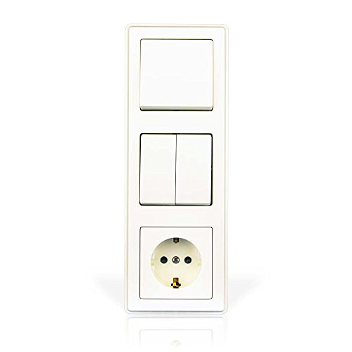 minify programa interruptor empotrable ECO Plus con VDE - Blanco, triple: Apagado-Cambio/doble balancín/toma