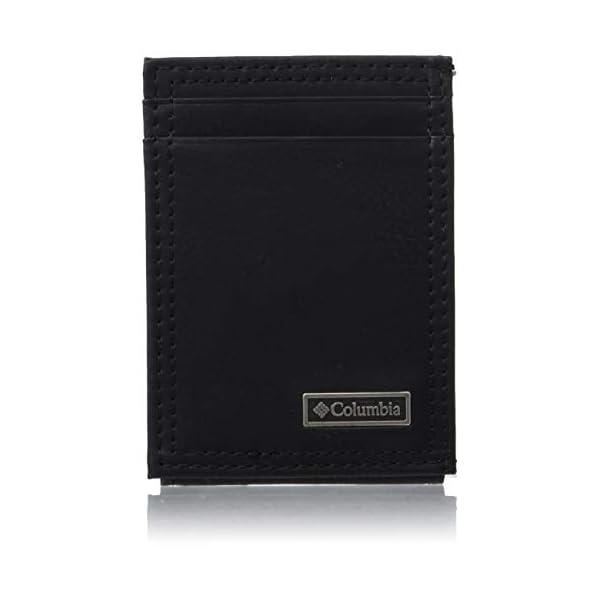 Columbia Men's Leather Front Pocket Wallet Card Holder for Travel