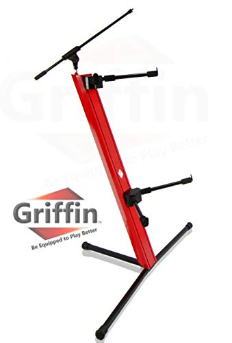 2-Tier Column Keyboard Stand with Mic Boom Arm by Griffin | Double Sliding Mounting Arms | Deluxe Red Tower Base with Adjustable Height | Mounts Turntables, DJ Gear, Studio Synthesizer, Pro Audio Gear