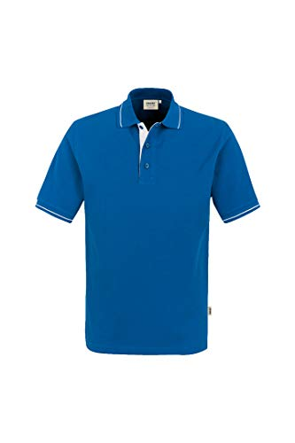 HAKRO Polo-Shirt Casual - 3-Loch Knopfleiste - 803 - blau/weiß - Größe: 3XL