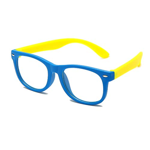 Long Keeper Unbreakable Anti Blue Light Glasses for Kids Computer Glasses Eyewear Age 3-10 (Blue Yellow)