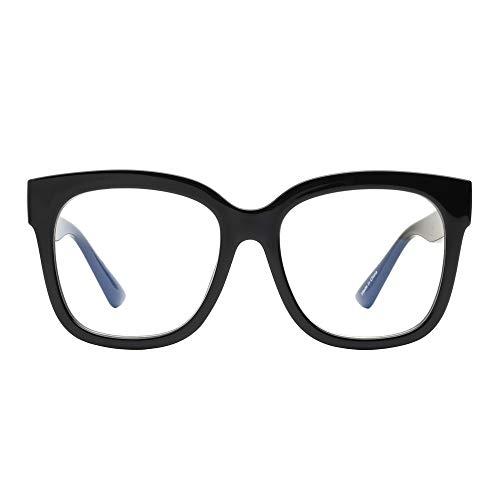 JIM HALO Blue Light Blocker Glasses for Women Oversized Square Computer Glasses Reduce Eye Strain Black