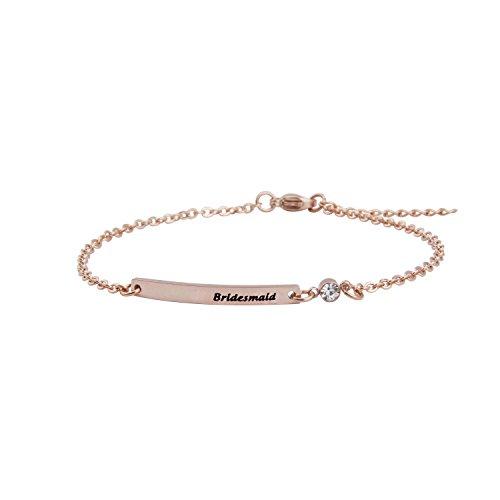 Braccialetto da damigella d'onore con barretta con cristallo regalo di nozze per damigella d'onore e Acciaio inossidabile, cod. UK-bridesmaidB RG