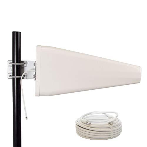 PremiumX LTE-Antenne Outdoor 3G 4G 800-1800 - 2600 MHz LTE MiMo Richtantenne bis 12 dBi Gewinn 10m Kabel - Hotspot Mobilfunk Vodafone Telekom Modem Router WLAN Außenantenne