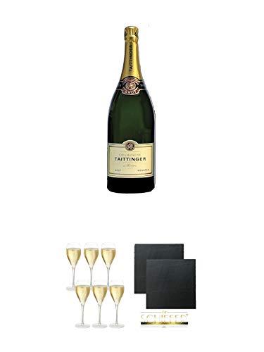 Taittinger Brut Reserve Champagner Methusalem in HK 6,0 Liter + Taittinger Champagner Gläser 6er Pack + Schiefer Glasuntersetzer eckig ca. 9,5 cm Ø 2 Stück