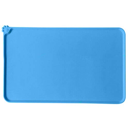 RSLG Non Slip Dog Food Tray Cat Bowl Mat Pet Water Feeding Food Dish Tray Wipe Clean Floor Placemat Waterproof Pet Dog Feeding Mat (Blue)