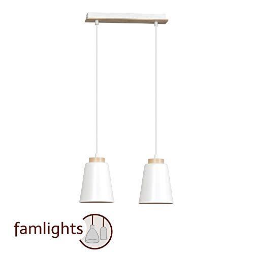 famlights Pendelleuchte Nele 2-Flammig aus Metall, Weiß   Hängelampe edel Deckenleuchte Wohnzimmer-Leuchte Flur-Lampe industriel Schlafzimmer-Leuchte schlicht Deckenbeleuchtung retro Zimmerlampe E27