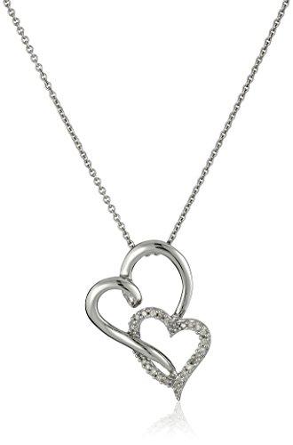 Jewelili Sterling Silver Diamond Double Heart Pendant Necklace (1/10 cttw), 18