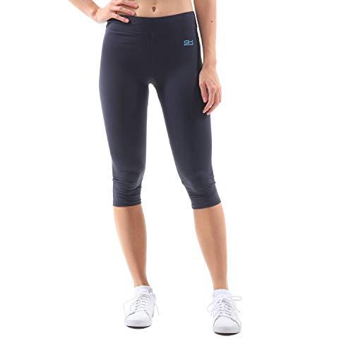 Sportkind Mädchen & Damen Sport Capri Leggings, Yoga-Fitness-Hose in 3/4 Länge, Navy blau, Gr. M