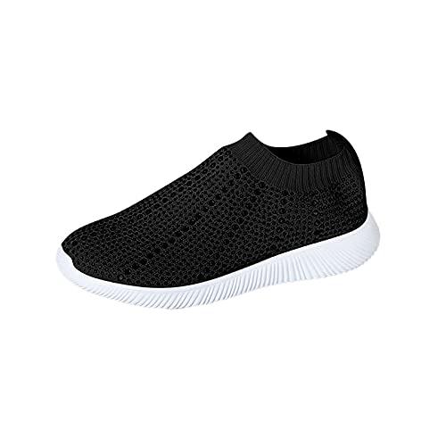 Zapatillas de deporte para mujer, informales, cómodas, planas y redondas, con soporte de arco de diamantes de imitación, con tachuelas y puntera cerrada, zapatos deportivos para mujer, Black, 36.5 EU