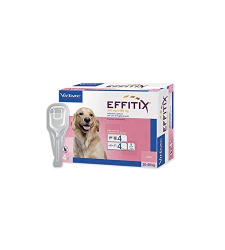 Virbac VB0145 Effitix Soluzione spot-on, 268+2400 Mg, 4 Pipette x 4,40 ml, Per cani di taglia grande (20-40 kg)