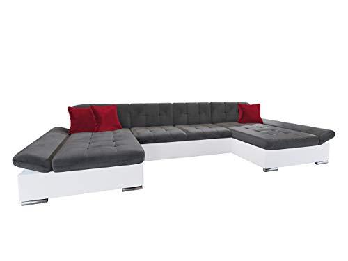 Mirjan24 Ecksofa Alia mit Regulierbare Armlehnen, 2 Bettkasten und Schlaffunktion, U-Form Eckcouch vom Hersteller, Sofa Couch Wohnlandschaft (Soft 017 + Kronos 22 + Kronos 02)