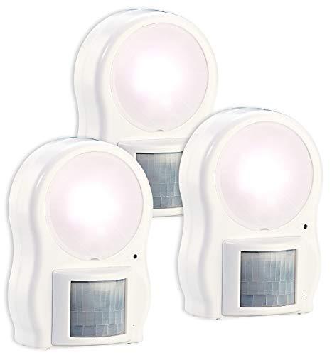 Lunartec Dämmerungslampe: 3er-Set LED-Leuchten mit Bewegungs- & Dämmerungsensor, Batteriebetrieb (Dämmerungslampe LED)
