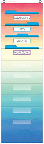 "Watercolor 10 Pocket File Storage Pocket Chart (14"" x 58"")"
