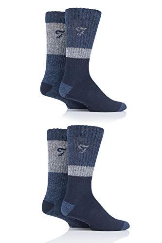 FARAH® Herren Performance Stiefel Socken Packung mit 4 Marine/Blau/Grau 39-45