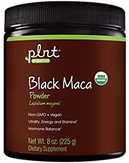 plnt Organic Black Maca Powder (Lepidium meyenii), Supports Energy, Stamina and Hormone Balance, Non GMO, Vegan (8 Ounces ...