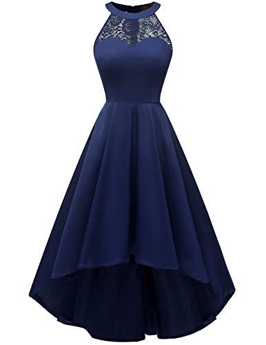 DRESSTELLS Damen 50er Vintage Rockabilly Kleid Neckholder Cocktailkleid Vokuhila Festliche Kleider für Hochzeit Navy L
