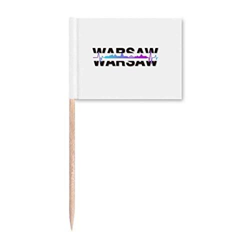Urban Wave Warschau Architektur Zahnstocher Flaggen Marker Topper Party Dekoration