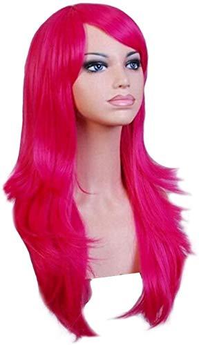 Peluca de cosplay sintética resistente al calor para mujer, rojo, largo, ondulado, pelo rizado, disfraz de fiesta, pelucas de cosplay, varios colores para Halloween, Navidad, rosa