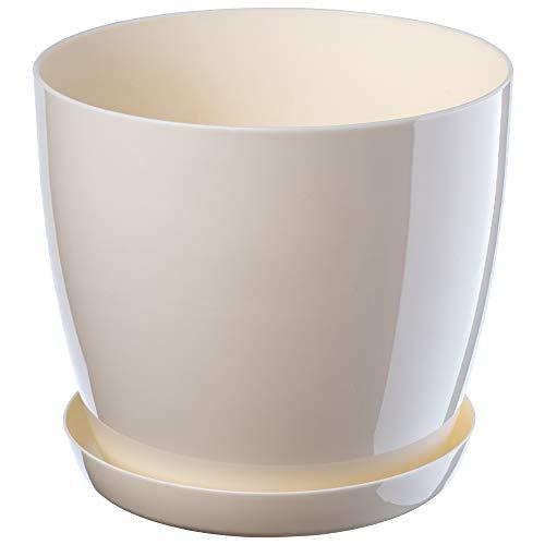 KADAX Blumentopf, Pflanzkübel mit Untersetzer, runder Blumenkübel für Innen, eleganter Pflanztopf aus Kunststoff, Übertopf für Blumen, Pflanzen, Haus, leichtes Pflanzgefäß (Ø 16 cm, Creme)