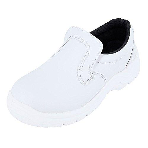 Zapato de cocina blanco con forma mocasín, ideal para la industria alimentaria con protección ISO20346, forma mocasín de cocina del 35 al 47, Blanco (blanco), 43 EU