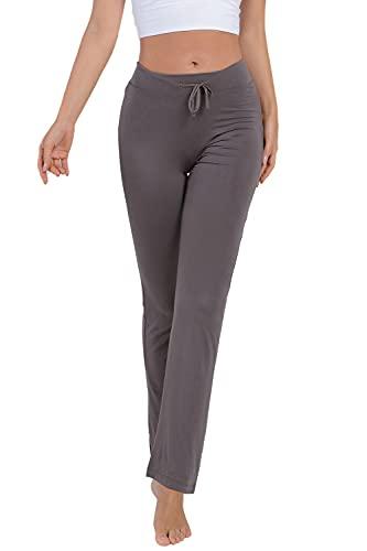 Voqeen Pantalones de Yoga Bootcut Mujer Modal Pantalones Deportivos Alta Cintura Elásticos Leggins Anticeluliticos Control de Barriga Cordón Pantalones de Trabajo (Gris Oscuro, L)
