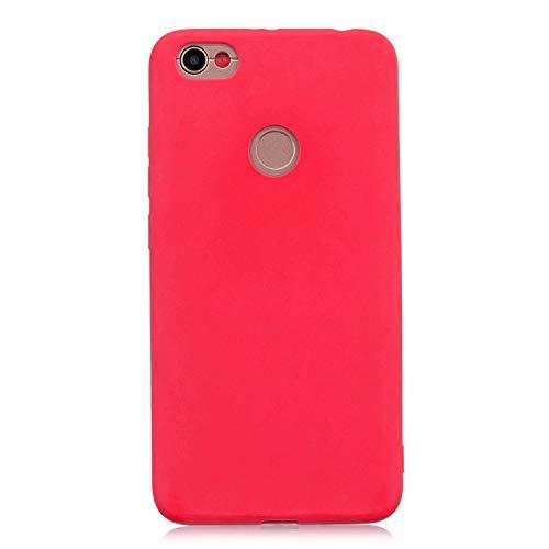 cuzz Funda para Xiaomi Redmi Note 5A+{Protector de Pantalla de Vidrio Templado} Carcasa Silicona Suave Gel Rasguño y Resistente Teléfono Móvil Cover-Rojo