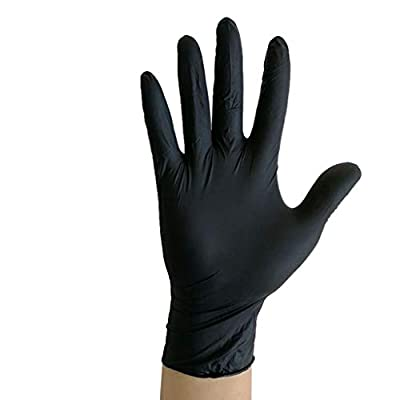 Nitrile Exam Gloves,100 Pcs Disposable Gloves - Powder Free, Latex Free for Cleaning, Food Handling (Small, Black)