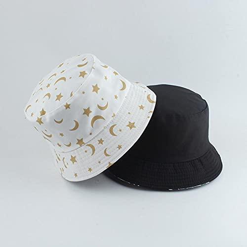 YDXC Gorros – Chapeau Bob Réversible Avec Imprimé Étoiles Et Lune Casquette Panama Pour L Extérieur Pliable Style Pêcheur Hip Hop Décontracté-White