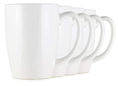 Serami White Coffee Mugs with Large Handles and 14oz Capacity, Set of 4