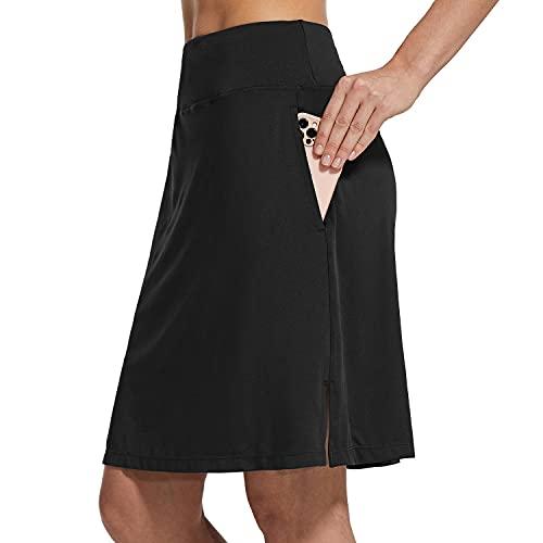 "BALEAF Women's 20"" Knee Length Skorts Skirts Athletic Modest Sports Golf Casual Skirt Zipper Pocket UV Protection Black XL"
