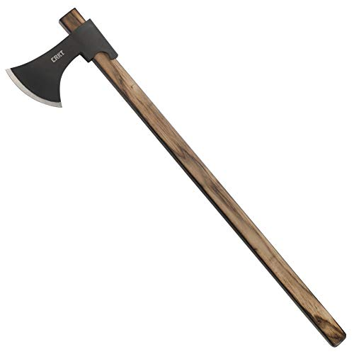 CRKT Cimbri Axe: Two Handed Outdoor Axe, Forged Carbon Steel Blade, Hickory Handle 2747