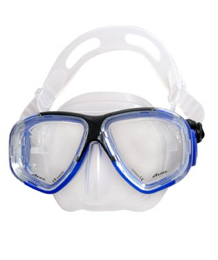 Aeris Europa 4 Lens Silicone Scuba Diving Mask Black/Clear - Closeout Special