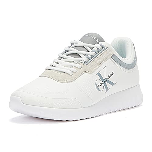Calvin Klein Jeans Runner Lace Up Sneakers Eva Mens White Trainers-UK 8 / EU 42