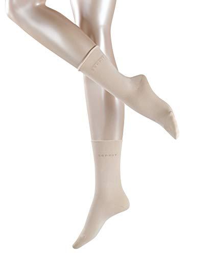 ESPRIT Damen Socken Basic PURE 2er Pack - 91prozent Baumwolle , 2 Paar, Elfenbein (Cream 4011), Größe: 39-42