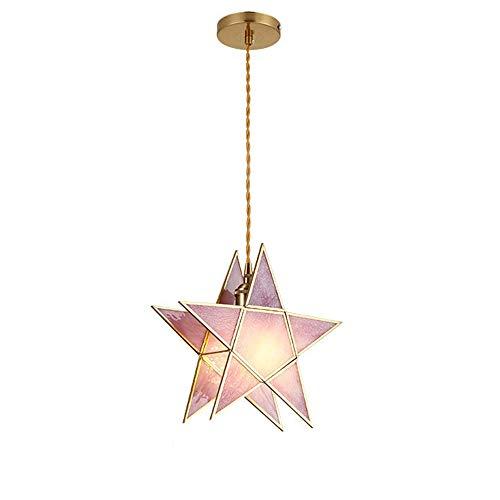Suspension hänge ljus ljuskrona glas lampskärm nordiska kreativa tak hängande ljus mässing E27 lamphållare Droplight för barnrum, matsal, sängloft (rosa)