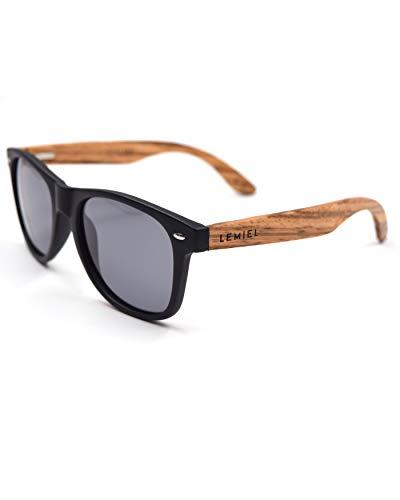 LEMIEL® Xavier - Sonnenbrille Herren Damen Holz Frauen Männer Holzsonnenbrillen aus Bambus | Holzbrillen (Zebraa)