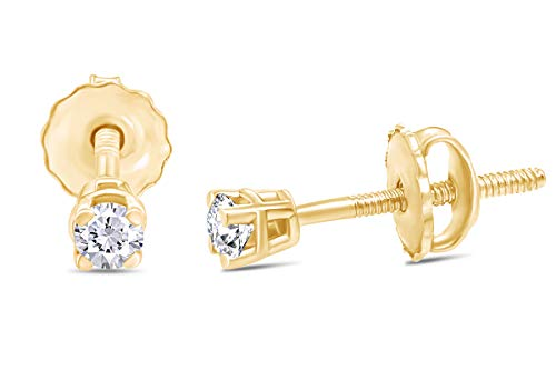 0.05CTTW VERY Very Small Round Natural Diamond Stud (IGI Certified 0.70 ct & up) Plus Quality Screw Back Earrings in 14k Solid Yellow Gold, 0.04 Ctw - 2.00 Ctw