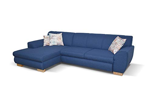 DOMO collection Nika | Eckcouch in L-Form | Sofa Eckgarnitur, Moderne Polsterecke, blau, 277x156x78 cm