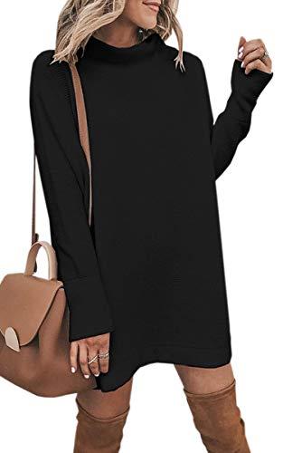 ECOWISH Damen Rollkragen Strickkleid Einfarbig Pullover Kleid Casual Lose Herbst Kleid Schwarz M