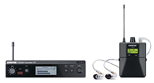 Shure P3TRA215CL PSM300 Wireless Stereo Personal Monitor System with SE215-CL Earphones, H20