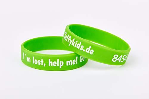 Taffykids Kinder Armband - Kind finden im Handumdrehen - Eindeutige ID - Telefonnummer tauschbar - Wasserfest - Tiefgeprägt - Notfallarmband - Sicherheitsarmband - SMS Nachricht (grün, 160mm)