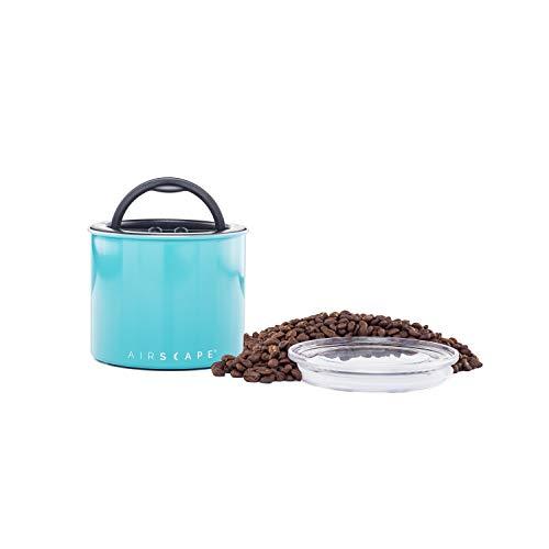 AirScape Edelstahl Lebensmittelkonservierungsbox - Patentierte hermetische innere Vakuumdeckelluft - oberer Glasdeckel - türkisfarbenes Finish - Volumen 0,9 L - Kapazität 250 g