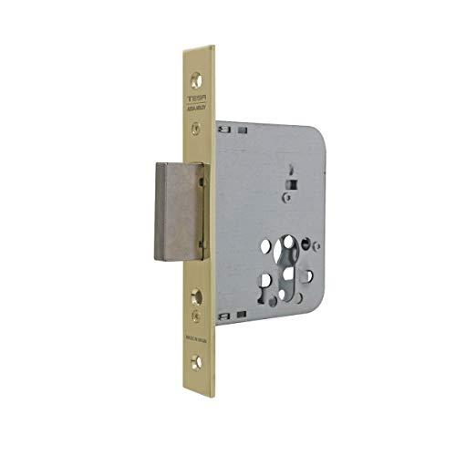 Tesa Assa Abloy 403140HL Cerradura De Embutir Para Puertas De Madera Sin Cilindro Latonado Entrada 40 mm, Frente Cuadrado 4031