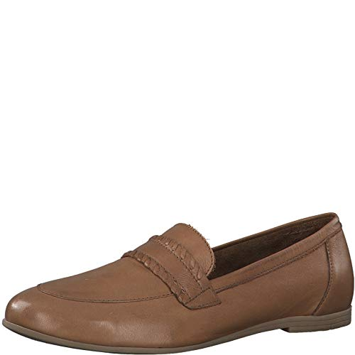 Tamaris Damen SlipperMokassins 24239-34, Frauen Slipper, schlupfhalbschuh College Schuh Loafer businessschuh weibliche Ladies,Cognac,41 EU / 7.5 UK